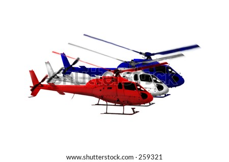 Three helicopters colored RED, WHITE & BLUE, fly in formation over a PURE WHITE background.