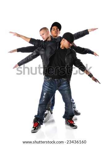 Three hip hop young men with arms stretched over a white background - stock photo