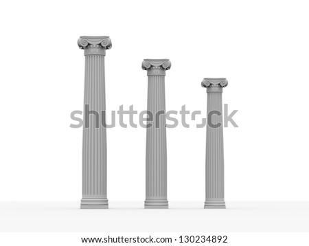 Three historical column isolated on white background - stock photo
