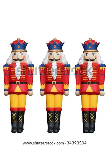 three holiday soldiers with clipping path - stock photo
