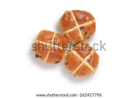 Three hot cross buns shot from above, isolated on white with clipping path - stock photo