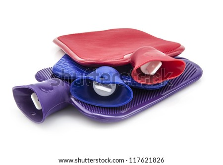 Three Hot Water Bottles on white