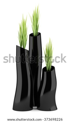 three houseplants in black vases isolated on white background - stock photo