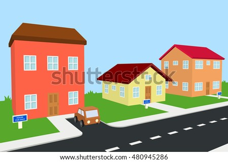 three houses for sale, the big house has also a car parked outside, 3D illustration