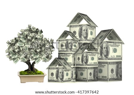 Three houses from dollars banknotes and money tree in pot.  Isolated on white background. 3d render - stock photo