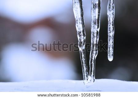 Three icicles - stock photo