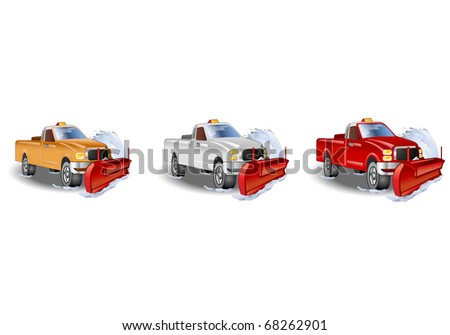 three  illustration of a large truck with a snowplow tool - stock photo