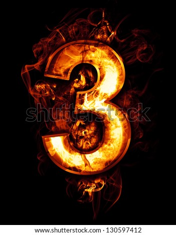 three, illustration of  number with chrome effects and red fire on black background - stock photo