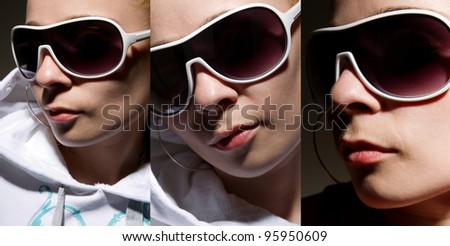 Three images of cool young rapper chick in sunglasses - stock photo