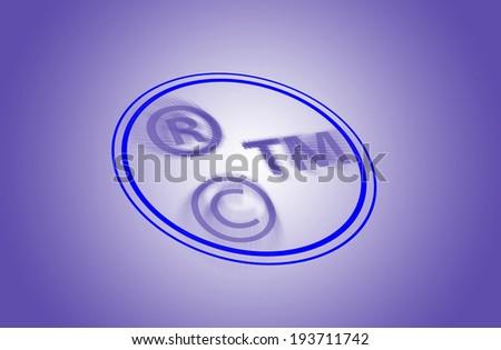Three in one trade mark - Trade mark registered trademark, copyright - stock photo