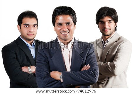 three Indian businessmen isolated on white, team of indian businessmen with leader - stock photo