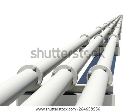 Three industrial pipes stretching into distance. Isolated on white background - stock photo
