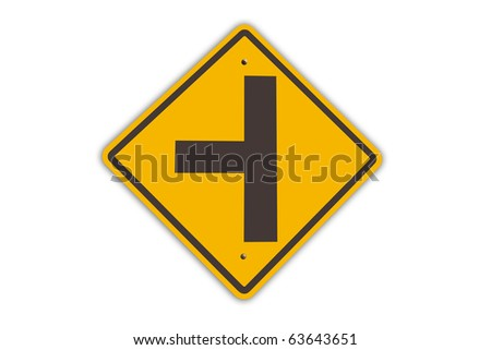 three intersection sign - stock photo