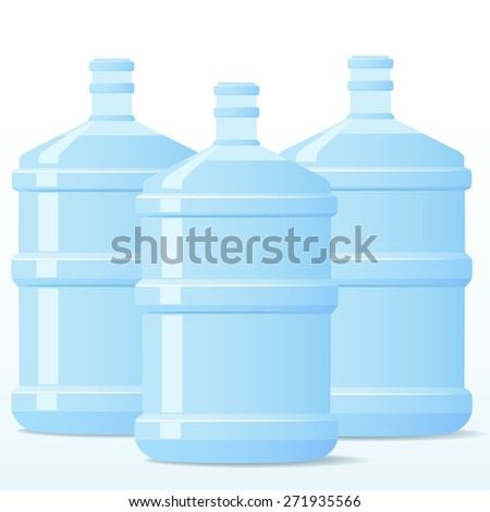 Three isolated blue bottles of clean water for design. - stock photo