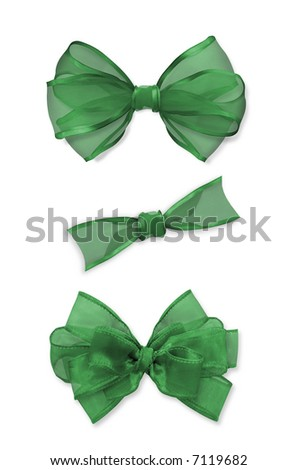 Three Isolated Green Bows