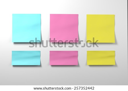 Three isolated on white  sticker set cyan, blue, pink, yellow colors - stock photo