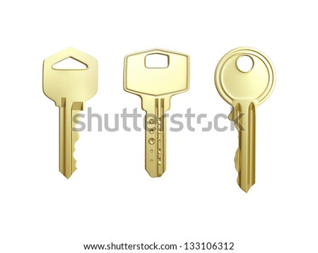 Three keys on white background. 3D image - stock photo
