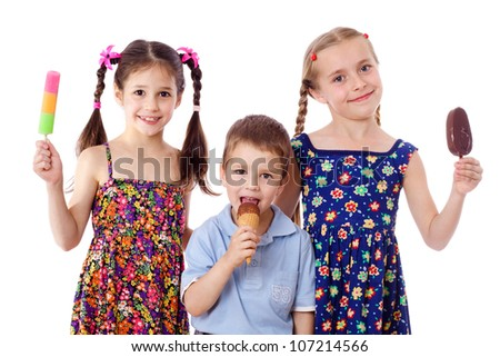 Three kids are show and eat their ice cream, isolated on white - stock photo