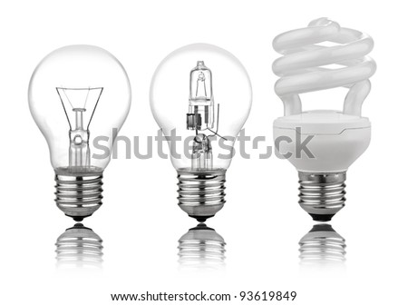 three kinds of light bulbs with Reflection Isolated on White Background. There is a path for each bulb - stock photo