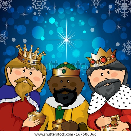 Three kings with gifts on the background of bright lights and comet - stock photo