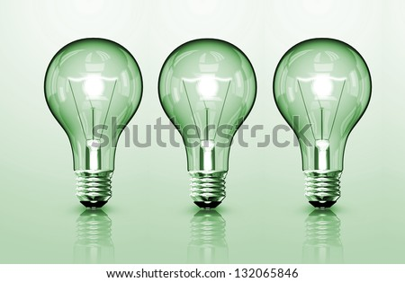 Three Lamps isolated on green background