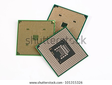 Three laptop processors on the white background
