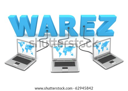 three laptops with a world map connected to the blue 3D word WAREZ