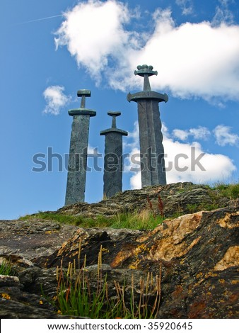 Three large swords stand on the hill as a memory to the Battle of Hafrsfjord in year 872, when King Harald Fairhair gathered all of Norway under one crown.