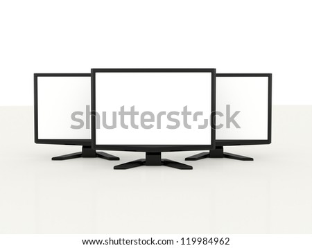 Three LCD monitors with white screen on white background