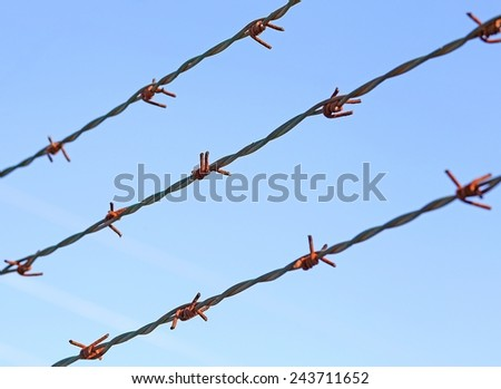 three lines of barbed wire to demarcate the border does not open