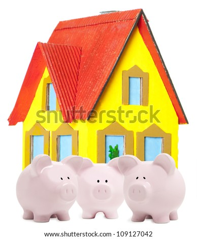 Three little piggy bank and small house