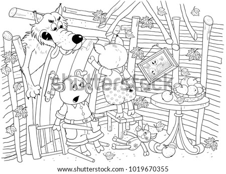 Three Little Pigs Fairy Tale Coloring Stock Illustration 1019670355 ...