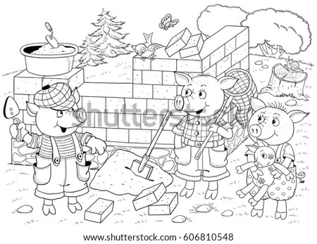 Three Little Pigs Page Four Fairy Stock Illustration 606810548 ...