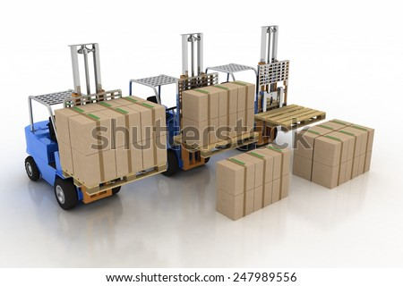 Three loaders with cargo and without cargo. 3d image on a white background - stock photo