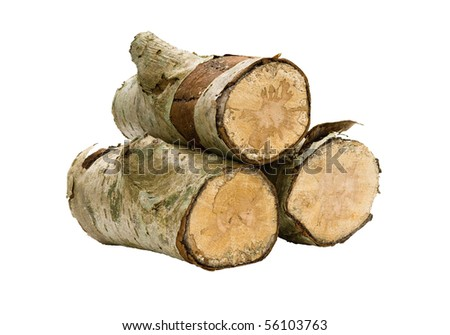 Three logs, stacked and isolated; the carbon neutral way to heat your home. - stock photo