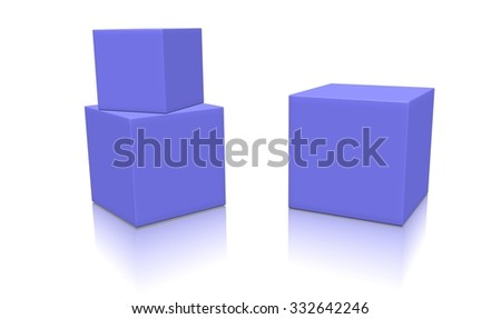 Three magenta 3d blank concept boxes with shadows isolated on white background. Rendered illustration. - stock photo