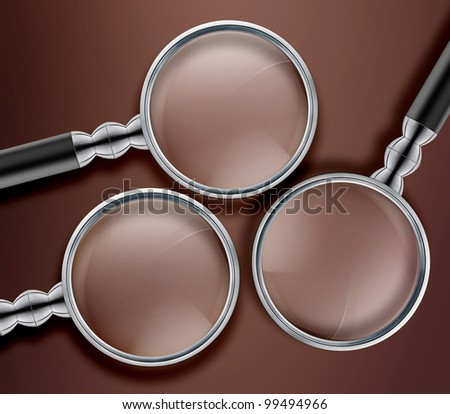 Three Magnifying glass  on Brown background. - stock photo