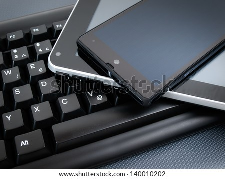 Three main types of electronic and communication devices today... - stock photo