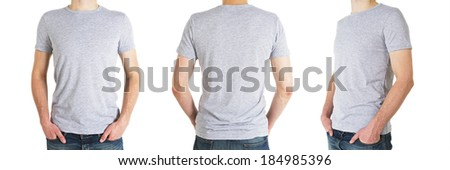 three man in gray t-shirt on a white background - stock photo