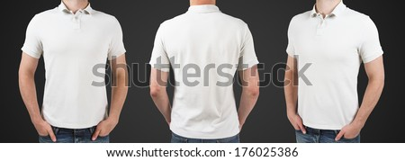 three man in polo t-shirt standing back - stock photo
