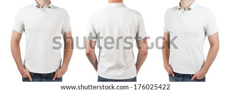 three man in white polo t-shirt on a white background - stock photo
