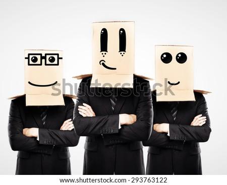 three man with happy box on hand - stock photo
