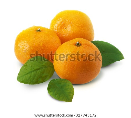 Three mandarins with green leaves on white background isolated