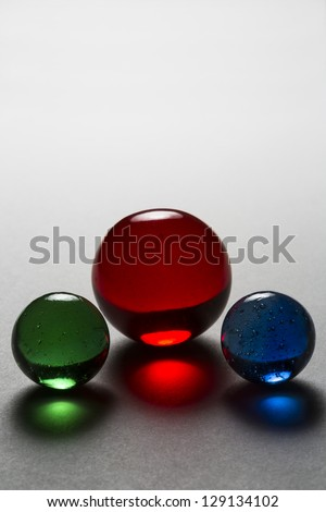 Three Marbles - Red Blue Green - stock photo