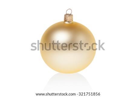 Three mat golden glass New Year toys - stock photo