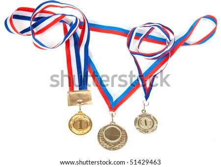 Three medals for first place with tape isolated on white