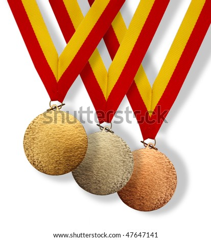 Three medals; gold, silver and bronze