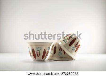 Three Mediterranean Lebanese Coffee Cups