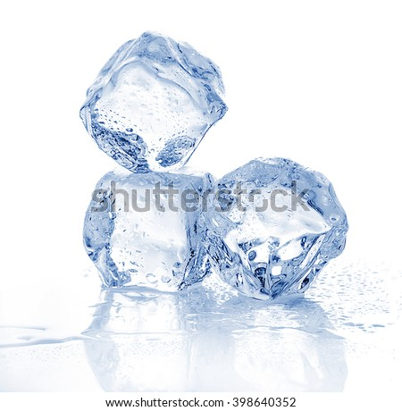 Three melting ice cubes on white background. - stock photo
