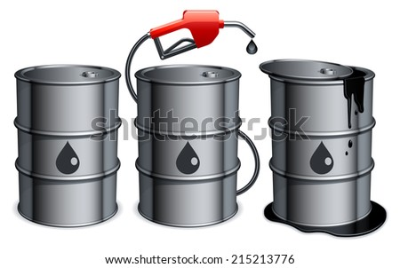 Three metal barrels with gas pump and spilled oil.